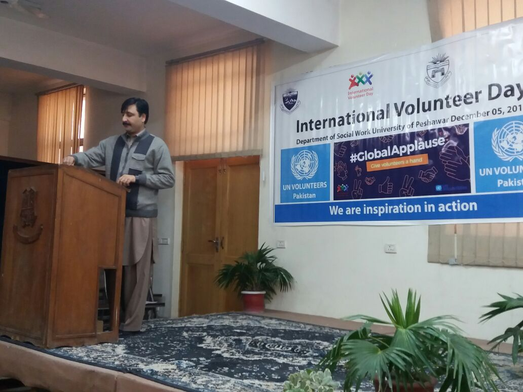 un volunteers keynote speakers from university of peshawar undp put light on volunteerism and its integration later on a peaceful community awareness walk was